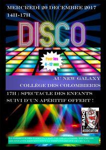 Disco et spectacle pour les enfants de 4 à 12 ans au New Galaxy le mercredi 20 décembre 2017